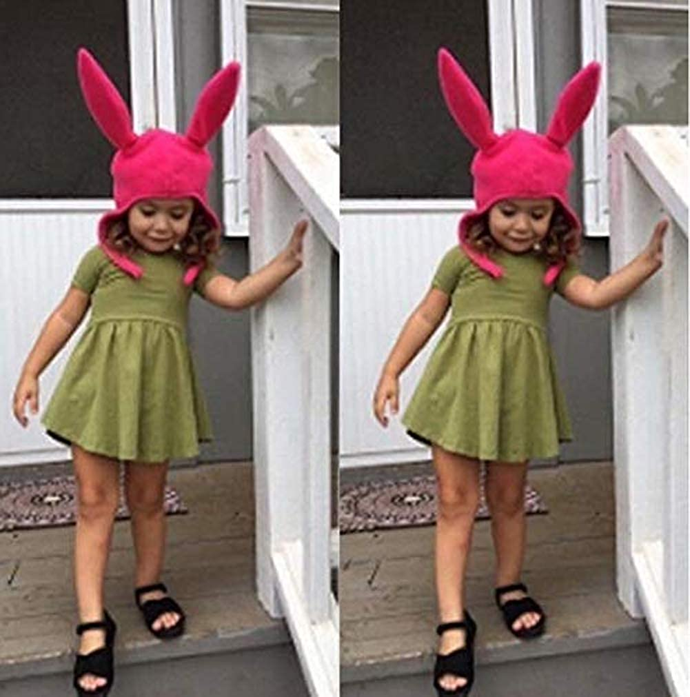 Bobs Louise Rabbit Ear Hat Burgers Beanie Cosplay Costume Halloween Fleece Hat Bunny Ears