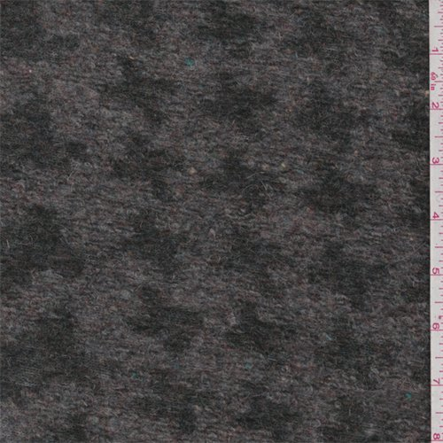 Grey/Forest Houndstooth Boiled Wool Knit, Fabric by The Yard -