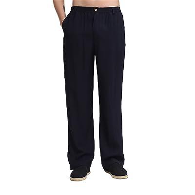 4575a181818c3 ACVIP Homme Pantalon Elastique en Coton de Chanvre Kung Fu Sport Style  Chinois Traditionnel
