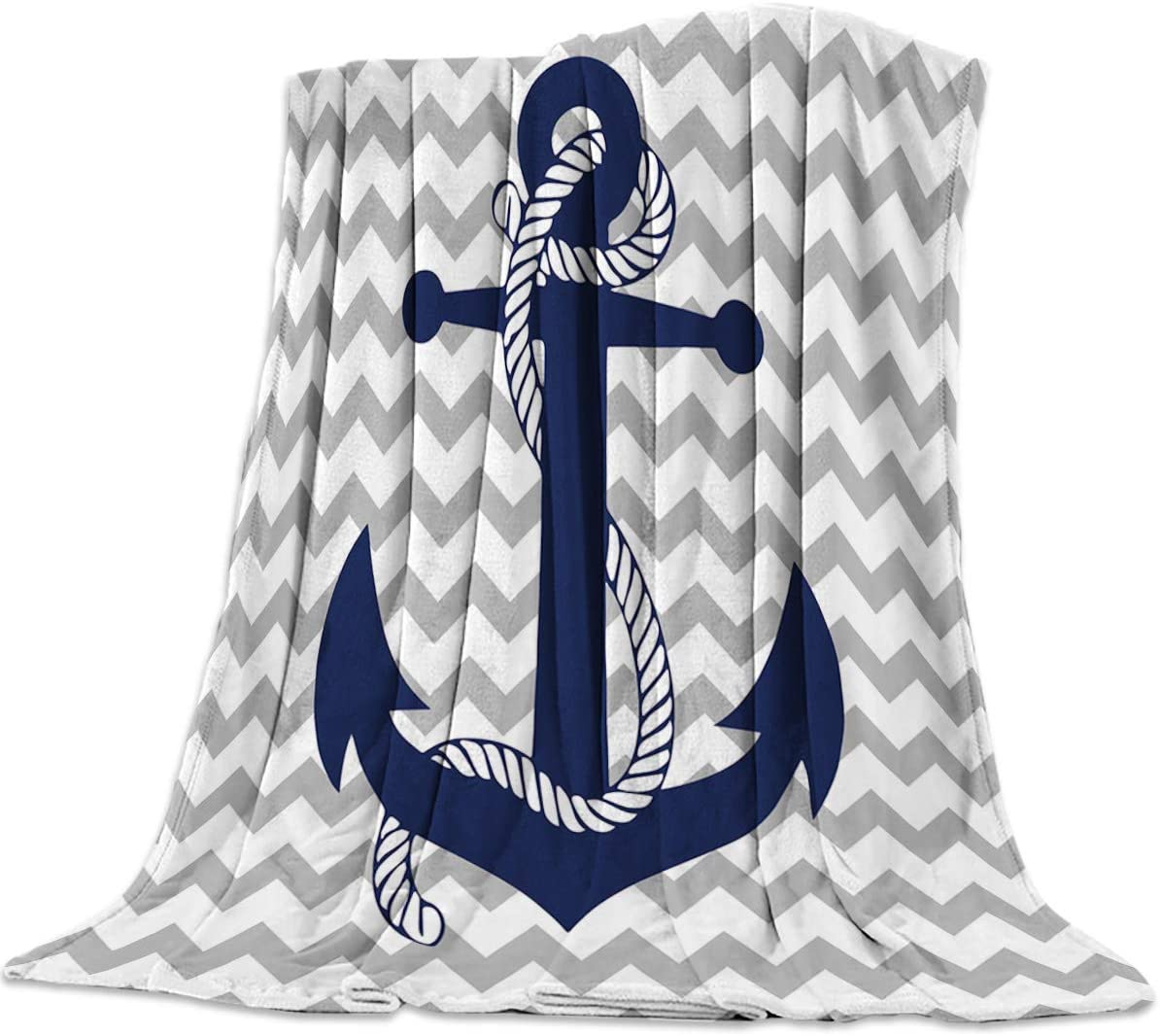 Flannel Fleece Luxury Lightweight Cozy Couch/Bed Super Soft Warm Plush Microfiber Throw Blanket,Nautical Navy Anchor with Gray and White Chevron (40 x 50 Inches)