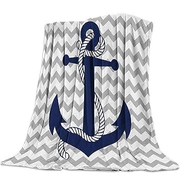 "60/""L C/&F White Navy Anchor Cotton Chenille Throw Blanket Fringed Tassels Navy"