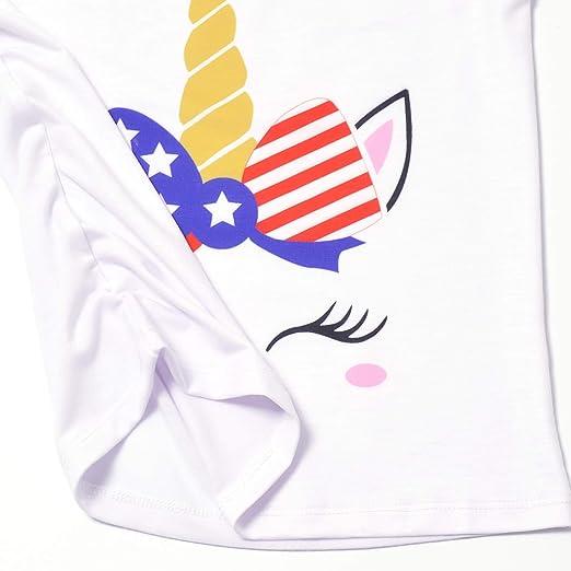 Jxstar Pijamas para niñas Conjuntos Unicornio Pjs sin mangas Verano Noche Camisas para
