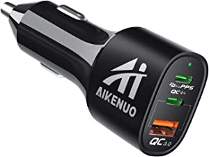 USB C Car Charger, AI Aikenuo 60W 3 Ports Compact Type C Fast Car Charger with Dual 30W Power Delivery & 22.5W Quick Charge 3.0 Car Charger Adapter Compatible with iPad Pro, iPhone and More