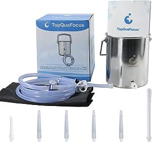 "TopQuaFocus Stainless Steel Enema Bucket Kit, Enema Kit, 2 Quart 5.3"" Tips for Man Woman"