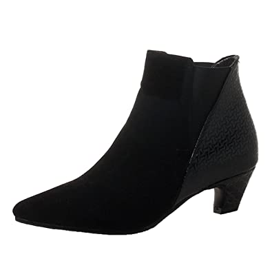 abec770971f0aa JYshoes Kitten Heels Stiefeletten mit Kleinem Absatz Stiefel Kurzschaft  Damen Ankle Boots Spitz  Amazon.de  Schuhe   Handtaschen