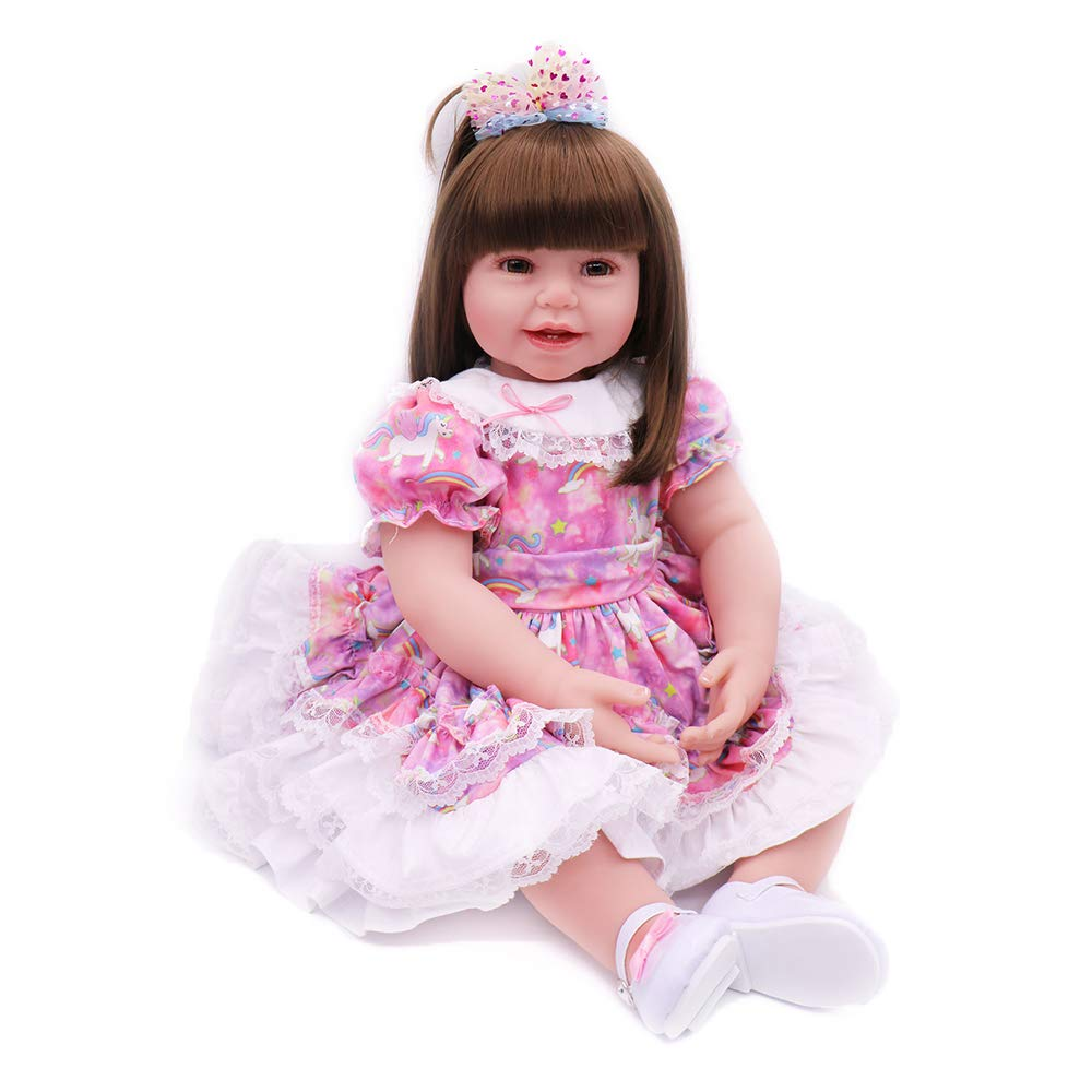 Realistic Reborn Baby Dolls Girl Toddler Silicone Vinyl Light Purple Star Dress 24 Inches