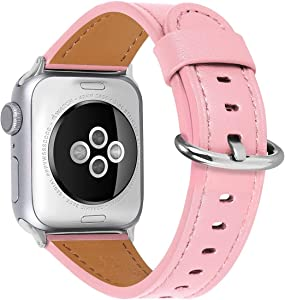 HUAFIY Compatible iWatch Band 38mm 40mm Genuine Leather Band Replacement Compatible with Apple for iWatch Series 6/ 5/ 4/ 3/2/1,SE, Sport, Edition, pink Band (pink+silver buckle, 38mm40mm)