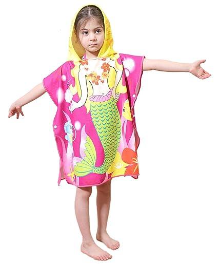 8a3514c174 Genovega Toddler Hooded Beach Bath Towel – Mermaid Soft Swim Pool Coverup  Poncho Cape for Girls Kids Children, 1-7 Years Old Bath Robe