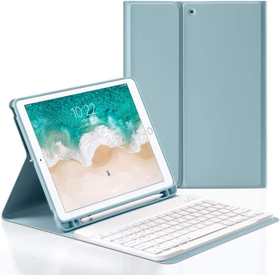 Bluetooth Keyboard Case for iPad 2017/2018/Air1/Air2 9.7 inch, Wireless Detachable iPad Keyboard Case with Pencil Holder for iPad 9.7 5th / 6th Generation (Blue)