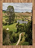 Hobbits Area Rug by Ambesonne, Overhill Matamata New Zealand Movie Set Hobbit Land Village Movie Set Image, Flat Woven Accent Rug for Living Room Bedroom Dining Room, 5.2 x 7.5 FT, Green Brown