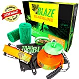 Slackline Kit With Training Line and Tree Protectors, 50-Ft Easy Set-Up Slackline Set, Perfect Slacklines for Kids and Family Outdoor Fun; Slack Line Includes Everything You Need to Start Today