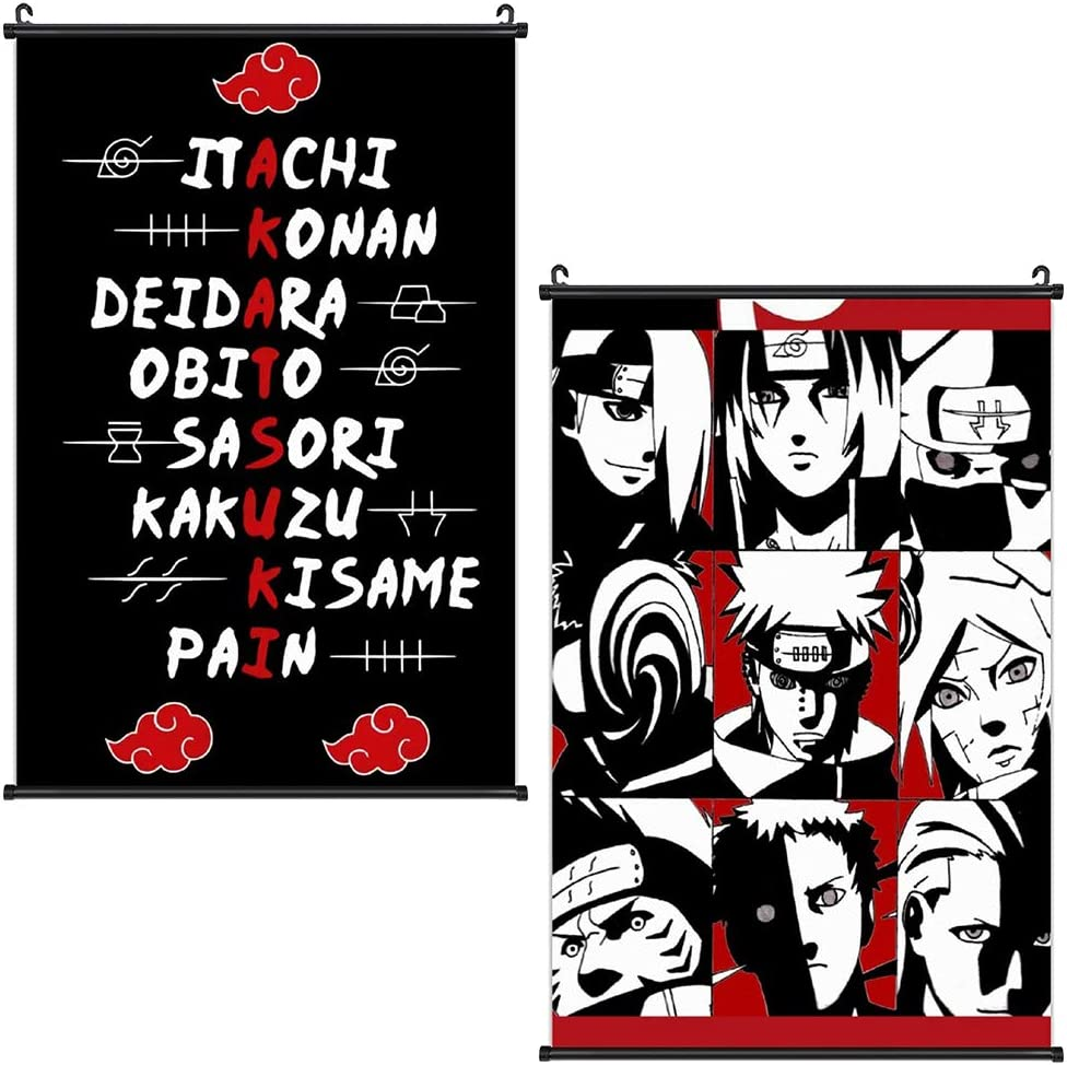 Naruto Poster 2 Packs Anime Akatsuki Posters Wall Art Scroll Painting Picture Home Decor Bedroom Decoration 16x24 in