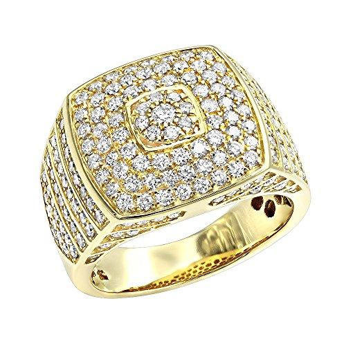 14k Mens Diamond Rings - 14k Mens Diamond Ring Square Shape Pinky Ring 2.5ctw (Yellow Gold, Size 10.5)