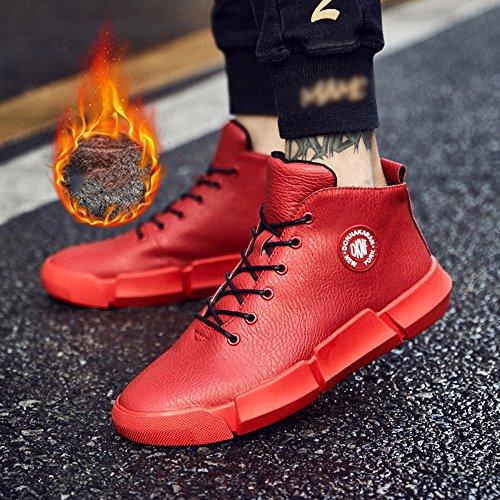 Le calzature sportive FEIFEI Scarpe da uomo Inverno per il tempo libero Sport Tenere in caldo le scarpe di cotone 2 colori (Colore : Nero, dimensioni : EU39/UK6.5/CN40) Rosso