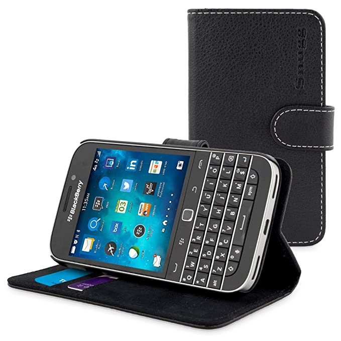 new product 8a4c0 1870a Classic Case, Snugg Leather Leather Flip Case [Card Slots] Executive  BlackBerry Classic Wallet Case Cover and Stand - Legacy Series