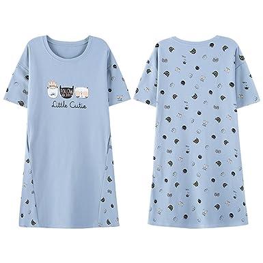 Camisón de Algodón para Mujer Camisola de Dormir Juvenil Grande Azul Claro con Diseño de Gatos (yo Azul): Amazon.es: Ropa y accesorios
