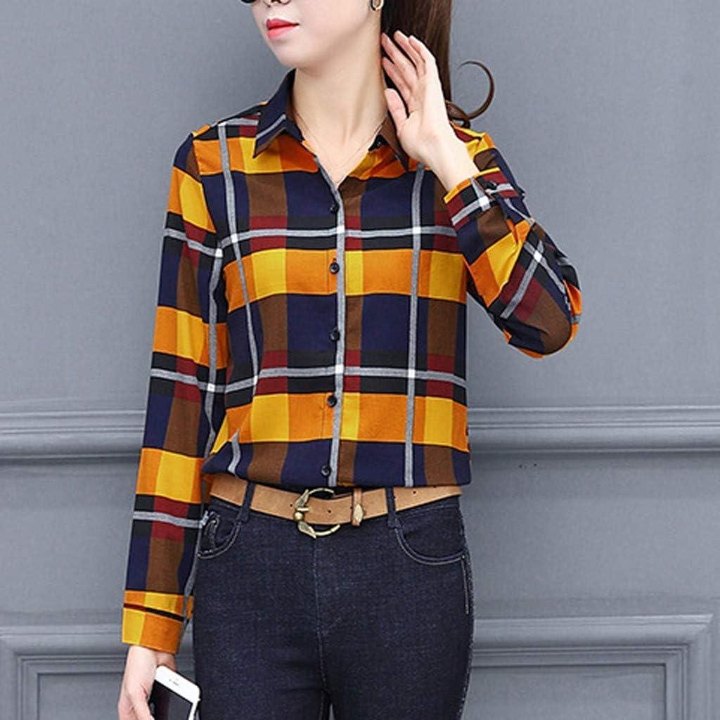 Damen Mode l/ässig passenden Farbe herbstlichen Langarm-Taste lose Kariertes Hemd Bluse Top T-Shirt VJGOAL Damen Bluse