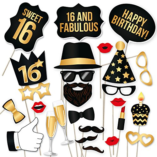 16th Birthday Photo Booth Props by PartyGraphix. DIY 16th Birthday Party Props Kit (34 Count, Black and Gold)
