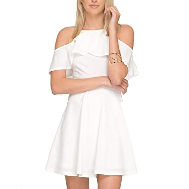 d62f2dd677d Amazon.com  She + Sky Womens Fit and Flare Cold Shoulder Dress White ...