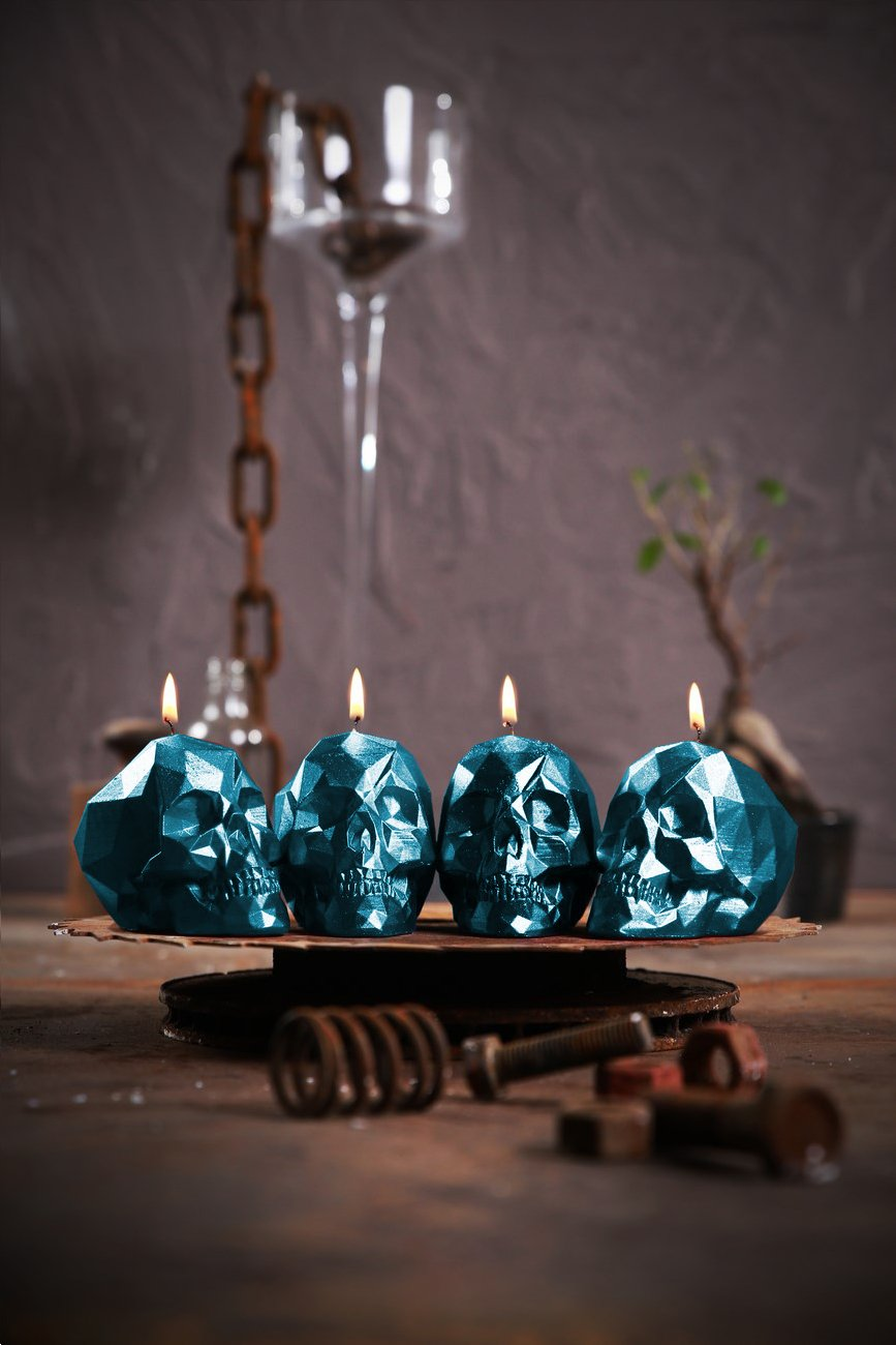 Candellana Candles 5902841368125 4 Piece Skull Small, Blue Metal,