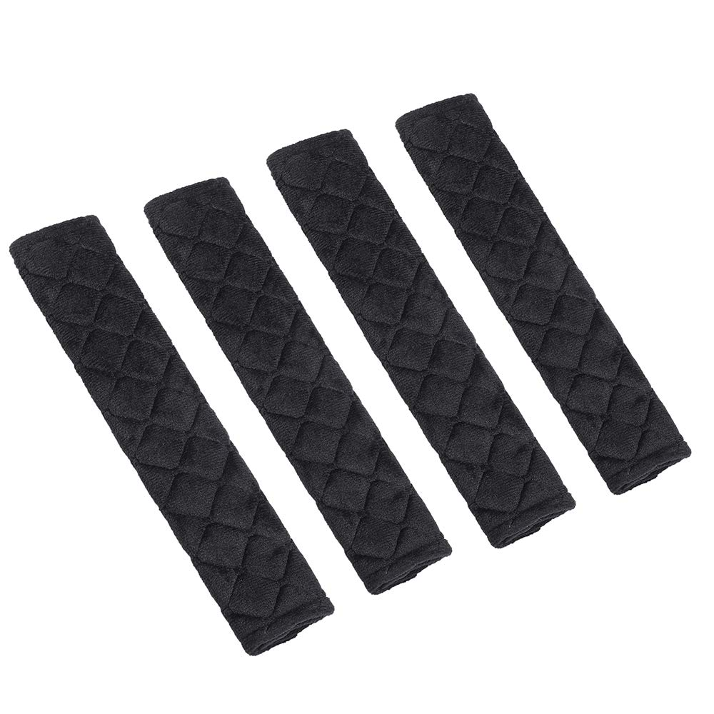 Luck /& Trust A09-001 Black Seatbelt Pads,Car Seat Belt Shoulder Pads,Soft Cotton Blend Strap Covers Adults Children,Thick Protector Cover for Car Seatbelt//Backpack//Shoulder Bag,Perfect Stress Relax for Neck
