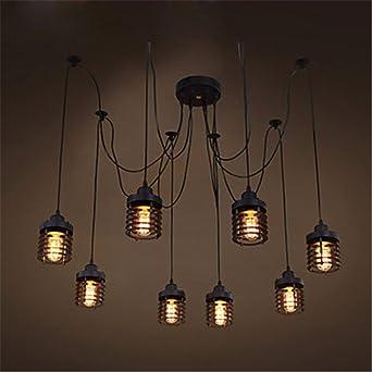 YLTT Retro Style Loft Industrielle Pendelleuchte Hängenden Lampen Leuchten  8 Bombilla Edison Vintage Lampe Für