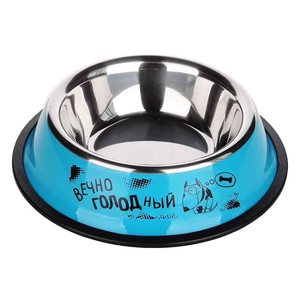 Medium CXQ Dog Bowl Pet Bowl Dog Food Bowl Small Medium and Large Dog Stainless Steel Round Bowl Cat Bowl bluee Pet Supplies (Size   M)