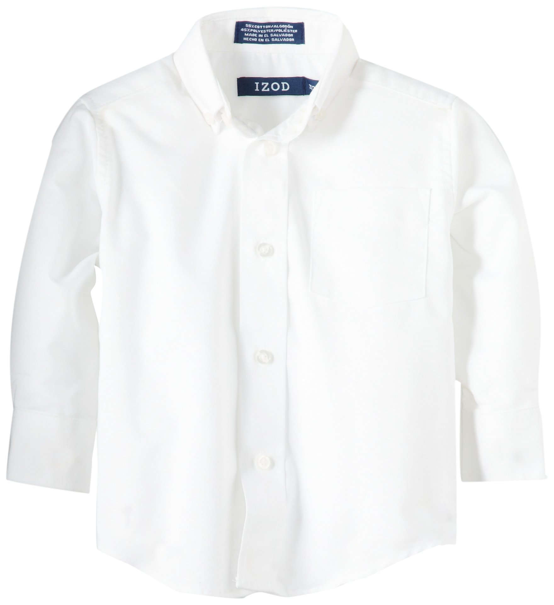 IZOD Kids Little Boys' Toddler Long Sleeve Oxford Shirt, White, 3T/3