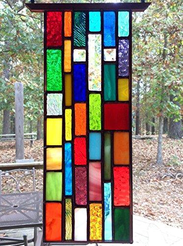 Beveled Stained Glass Suncatcher - Hanging Stained Glass Sun Catcher with Beveled Glass Christian Cross