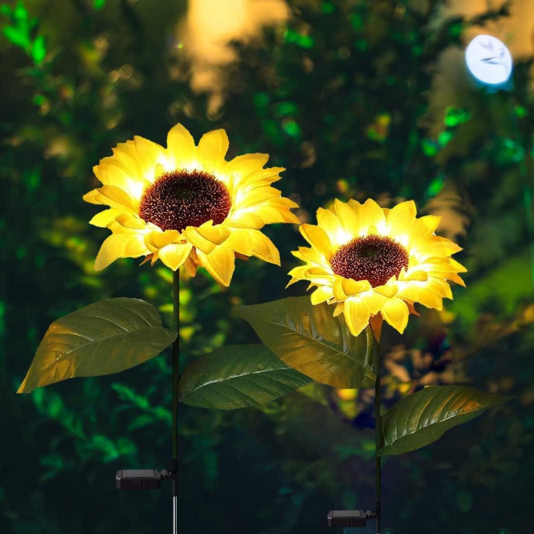 Outdoor Sunflower Garden Solar Lights 2 Pack, LED Solar Decorative Stake Lights, Solar Powered Lighting Landscape Waterproof for Patio Lawn Garden Yard Pathway Decoration
