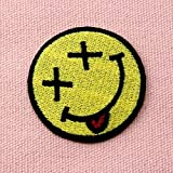 Smiley-Smile-Happy-Face-Embroidered-Badge-Iron-On-Sew-On-Patch