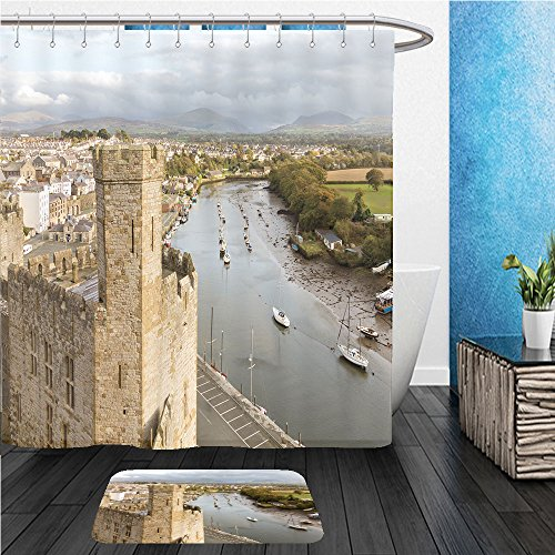 Beshowereb Bath Suit: ShowerCurtian & Doormat exterior walls of the ancient castle of carnarvon in north wales with river seiont and town with 356228426