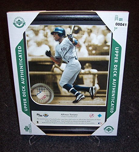 Framed 8X10 Alfonso Soriano 2002 Game Used Baseball Leather Mem Udauth #/500 from Los Angeles Sports Distributors