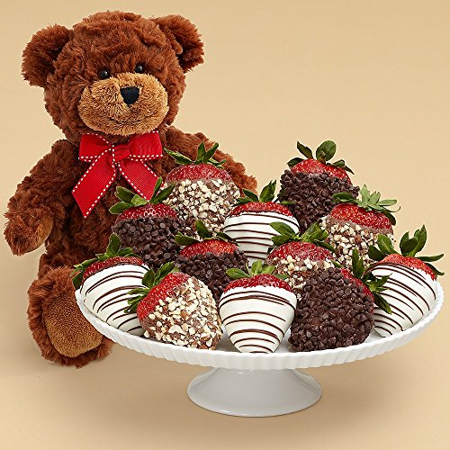 Shari's Berries - Teddy Bear & Full Dozen Fancy Strawberries - 12 Count - Gourmet Baked Good Gifts