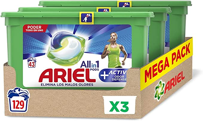 TALLA 129 Lavados. Ariel Pods Detergente Lavadora Cápsulas, 129 Lavados (Pack 3 x 43), Active Odor Defense