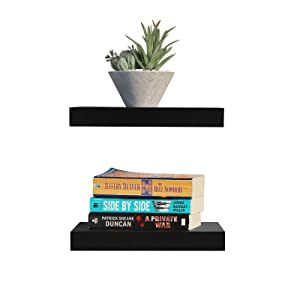 """WELLAND Set of 2 Floating Shelves Wall Mounted Shelf, for Home Decor with 8"""" Deep (Black, 10 inch)"""