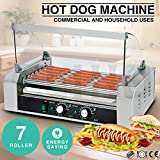 Senrob Electric 18 Hot Dog 7 Roller Grill Cooker Machine 1400-Watt with Cover for Commercial and Household Uses