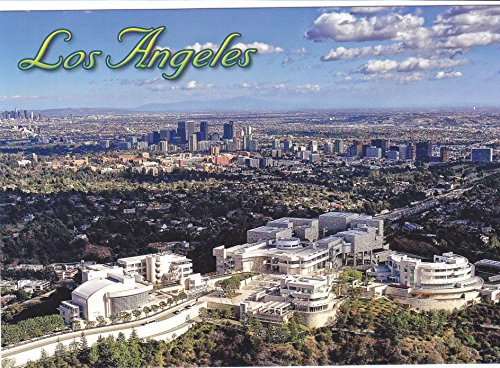 LA 366 Aerial View of the GETTY MUSEUM and Los Angeles Skyline in the background POSTCARD .. from Hibiscus Express