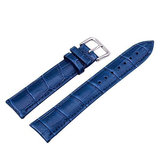 22mm Azul PU Cuero Correa para relojes Correa de roloj venda de reloj: Amazon.es: Relojes