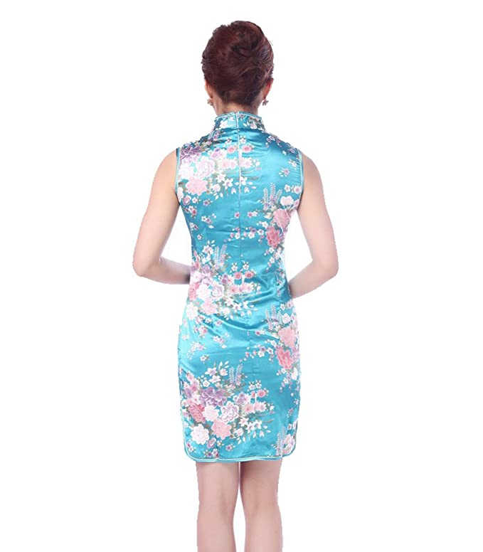 10b3acb6d29 Amazon.com  Jtc Women s Chinese Blue Silk Short Cheongsam Dress 1pc   Clothing