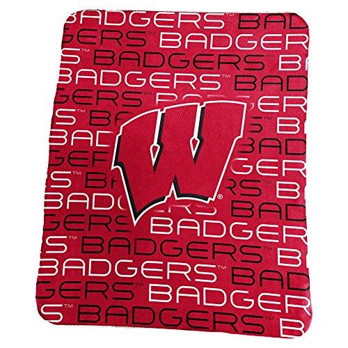 Logo Brands NCAA Wisconsin Badgers Classic Fleece Blanket - Fleece Wisconsin Blanket