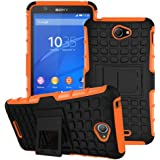 Heartly Flip Kick Stand Spider Hard Dual Rugged Armor Hybrid Bumper Back Case Cover For Sony Xperia E4 & E4 Dual E2115 - Mobile Orange