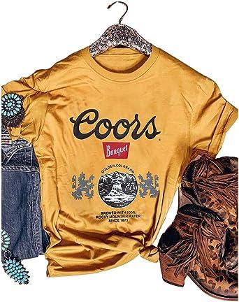 Camisa Vintage para Beber el día de la Cerveza, diseño de Coors Golden Colorado con Logo de león - Amarillo - Medium: Amazon.es: Ropa y accesorios