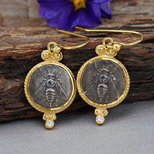Bee Coin & Topaz Earrings 925 Sterling Silver Roman Art Turkish Jewelry By Omer
