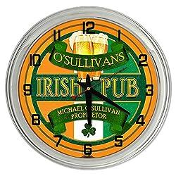 Redeye Laserworks Irish Pub Personalized Orange Neon clock from