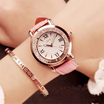 LMHQLNM Relojes para Mujer Estudiantes Tendencia Minimalista Ocio Atmósfera Diamante Reloj a Prueba de Agua,
