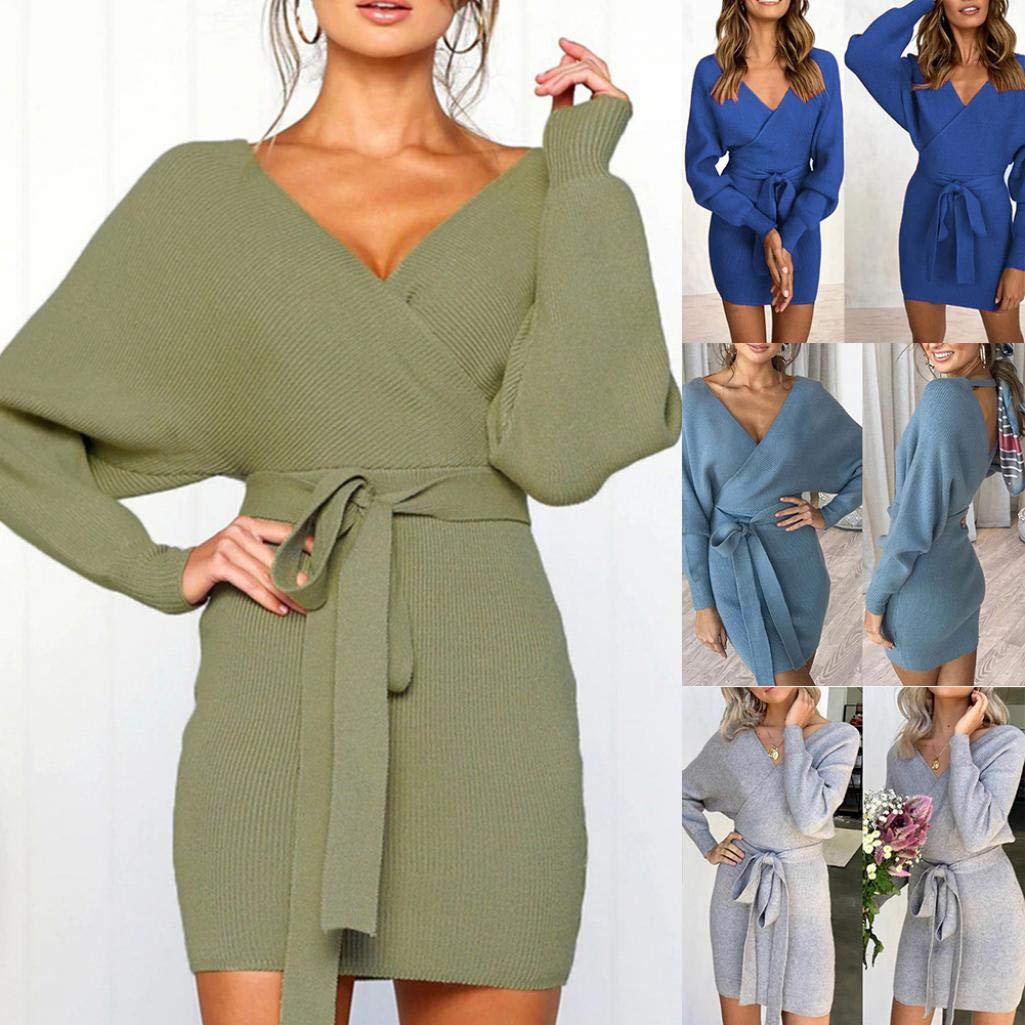Yvetti Womens Sweater V Neck Long Sleeve Waist Belt Knitted Casual Sweater Dress Autumn Winter