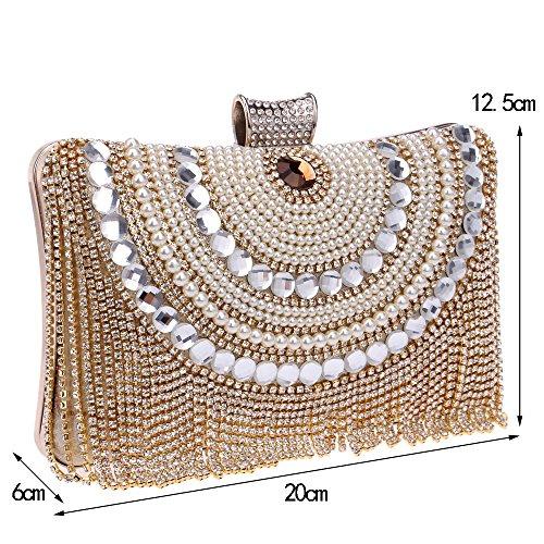 Pochette perle cristallo Borsa red da TUTU d'oro sposa donna con catena di diamanti diamanti da in a con con tracolla SIndqw4d
