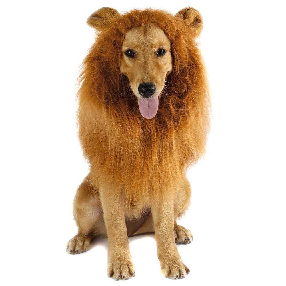 Alftek Lion Mane Peluca con Orejas para Perro Grande Halloween ...