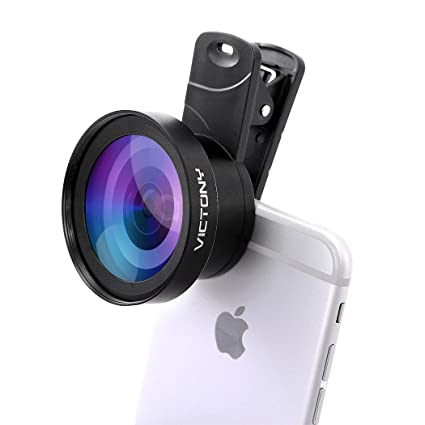 VICTONY Phone Lens Kit 0 45 x 110 Wide Angle 12 5 x Macro,2 in 1  Professional HD Camera Lens for iPhone 7/7 Plus/6s/6s Plus/6/5, Samsung and  Most